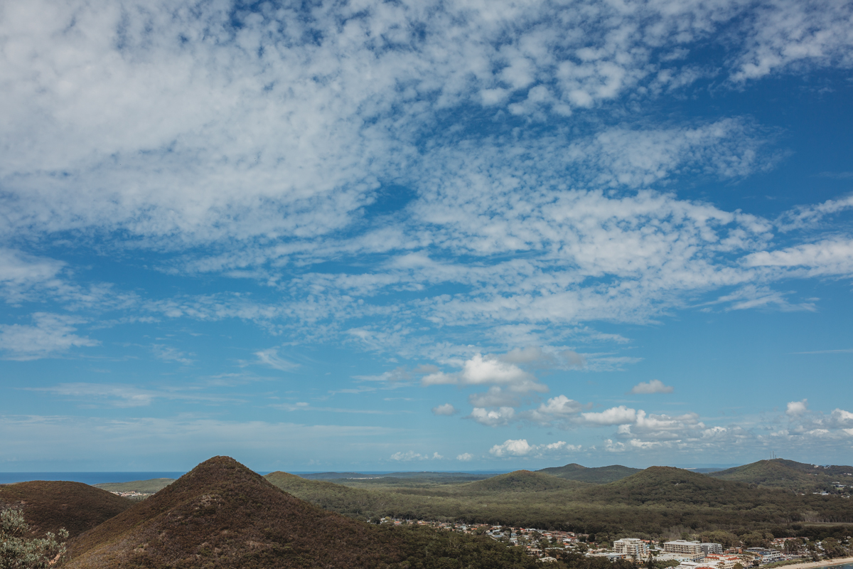 View of mountains from the top of Mt Tomaree