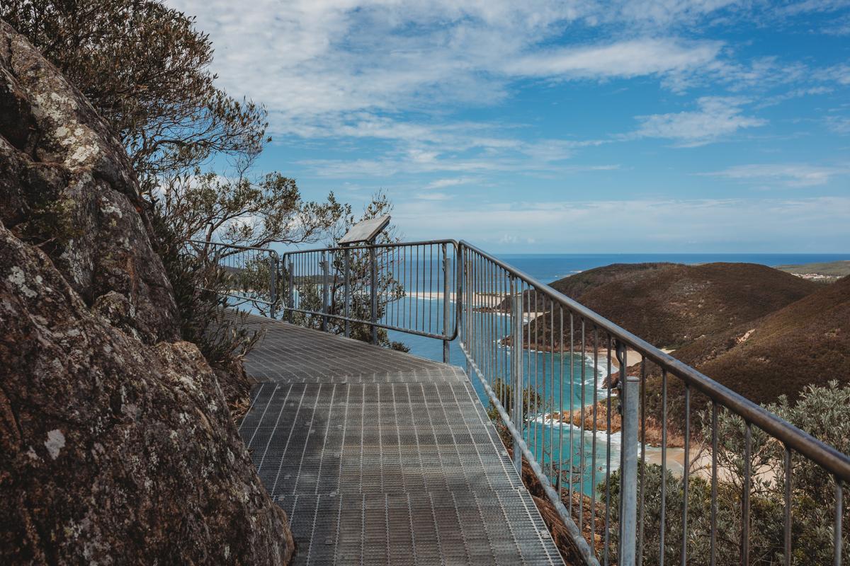 Steel walkway up Mt Tomaree
